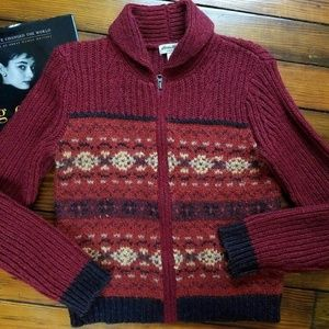 Eddie Bauer Womens Cardigan Sweater Rust Multi Siz